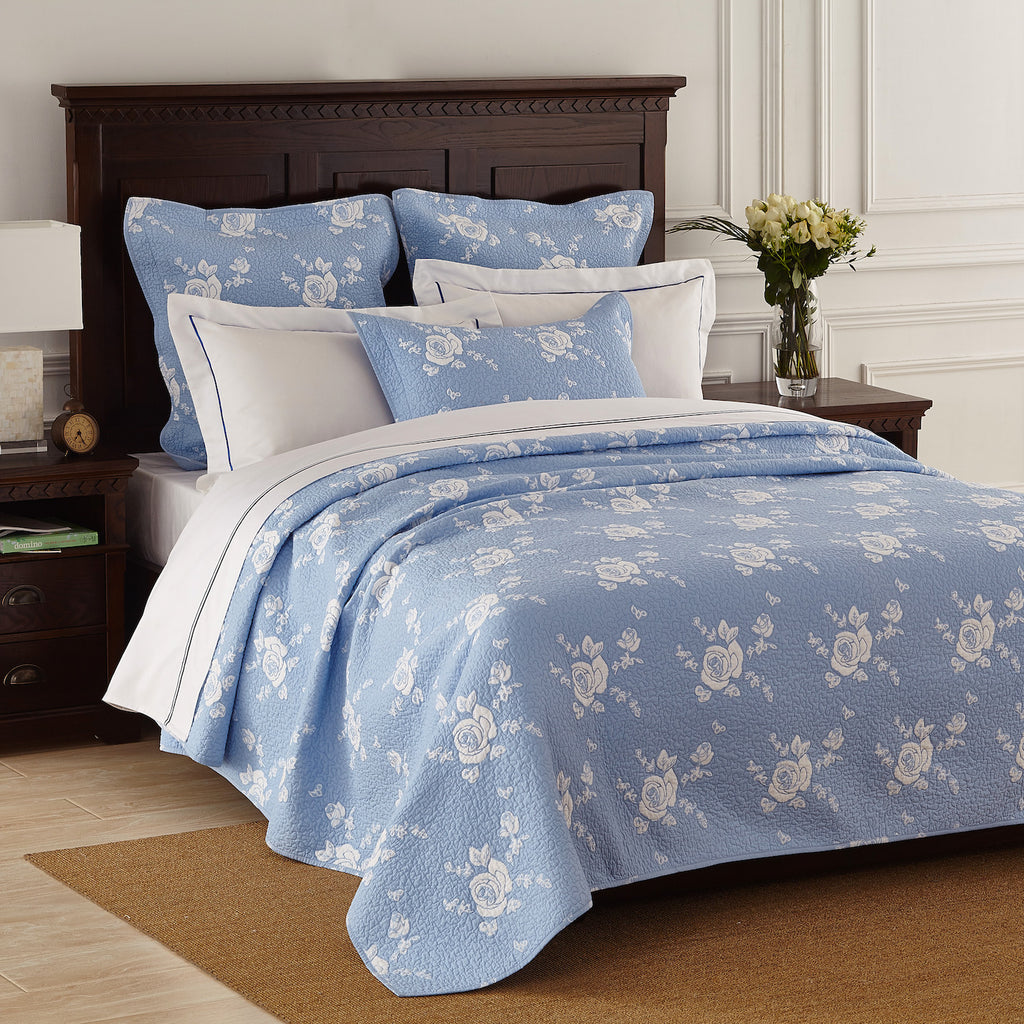 Rose melody luxury hand made pure cotton light blue quilt