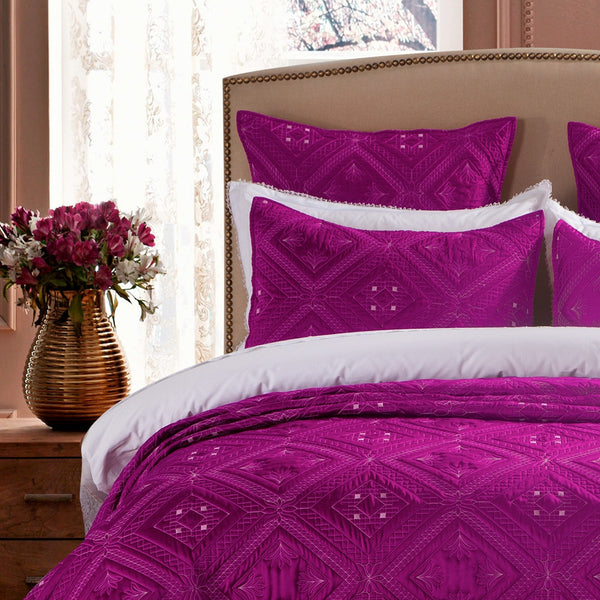 Fern Crystal Luxury Fuchsia Pillow Sham - Calla Angel  - 1