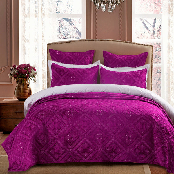 Fern Crystal Luxury Fuchsia Quilt - Calla Angel  - 1