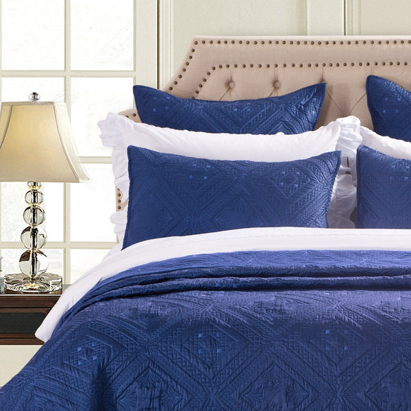 Fern Crystal Luxury Navy Blue Pillow Sham - Calla Angel  - 1