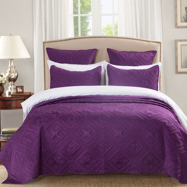 Fern Crystal Luxury Purple Quilt - Calla Angel  - 1