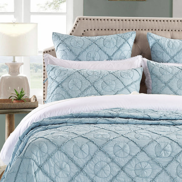Country Idyl Luxury Pacific Blue Pillow Sham - Calla Angel  - 1