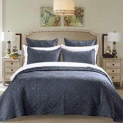 Fern Crystal Luxury Graphite Quilt - Calla Angel  - 1