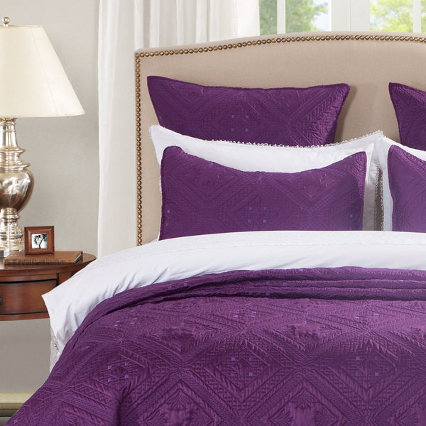 Fern Crystal Luxury Purple Pillow Sham - Calla Angel  - 1