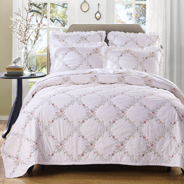 Orchard Mist Luxury White Quilt - Calla Angel  - 1