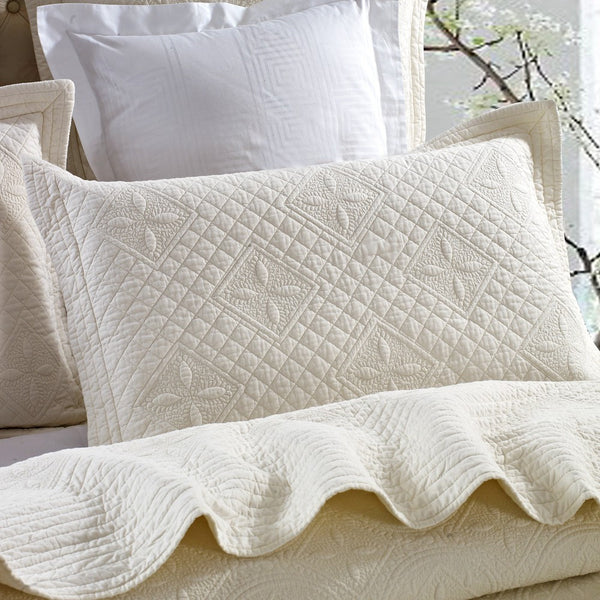 Saint Ivory Luxury Pure Cotton Quilted Pillow Sham - Calla Angel  - 2