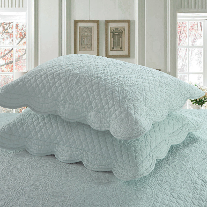 Sage Garden Luxury Pure Cotton Quilted Light Aqua Pillow Sham - Calla Angel  - 2