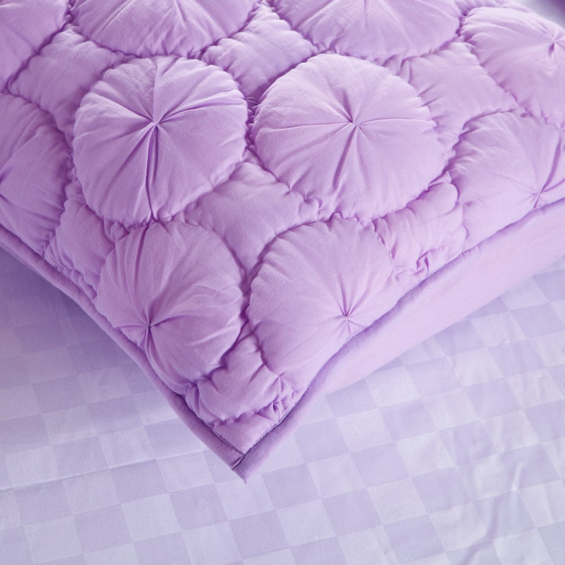 Dream Waltz Luxury Pure Cotton Quilted Lavender Pillow Sham - Calla Angel  - 3