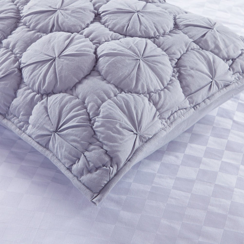 Dream Waltz Luxury Pure Cotton Quilted Silver Sand Pillow Sham - Calla Angel  - 3