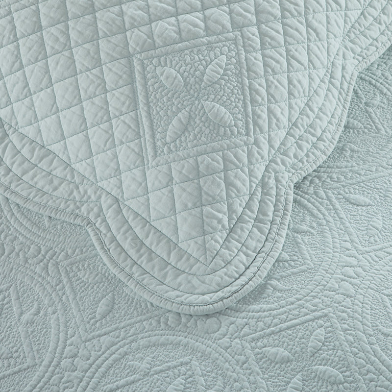 Sage Garden Luxury Pure Cotton Quilted Light Aqua Pillow Sham - Calla Angel  - 3