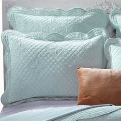 Sage Garden Luxury Pure Cotton Quilted Light Aqua Pillow Sham - Calla Angel  - 1