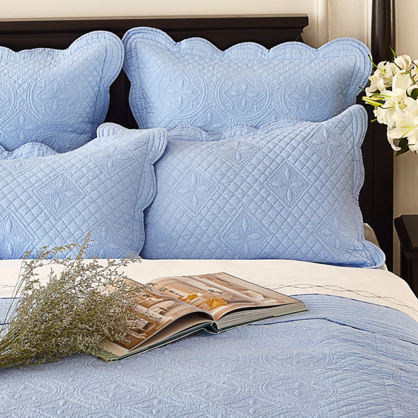 Sage Garden Luxury Pure Cotton Quilted Light Blue Pillow Sham