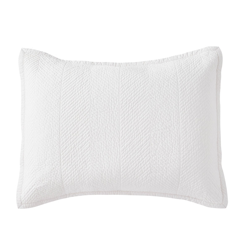 Evelyn Stitch Chevron Luxury Pure Cotton Quilted Pillow Sham, Ivory