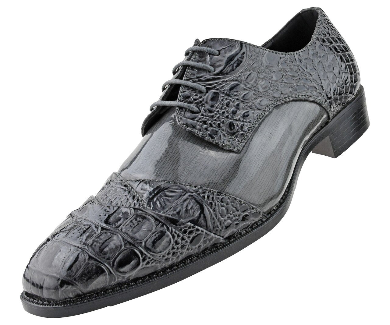 Men Dress Shoes-Alligator-Grey - Church Suits For Less