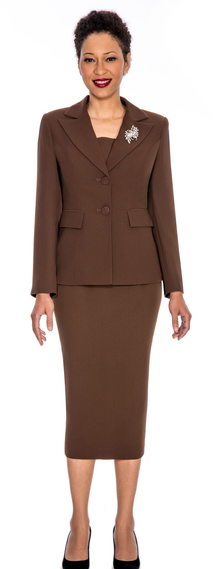 Giovanna Church Suit 0710-Chocolate - Church Suits For Less
