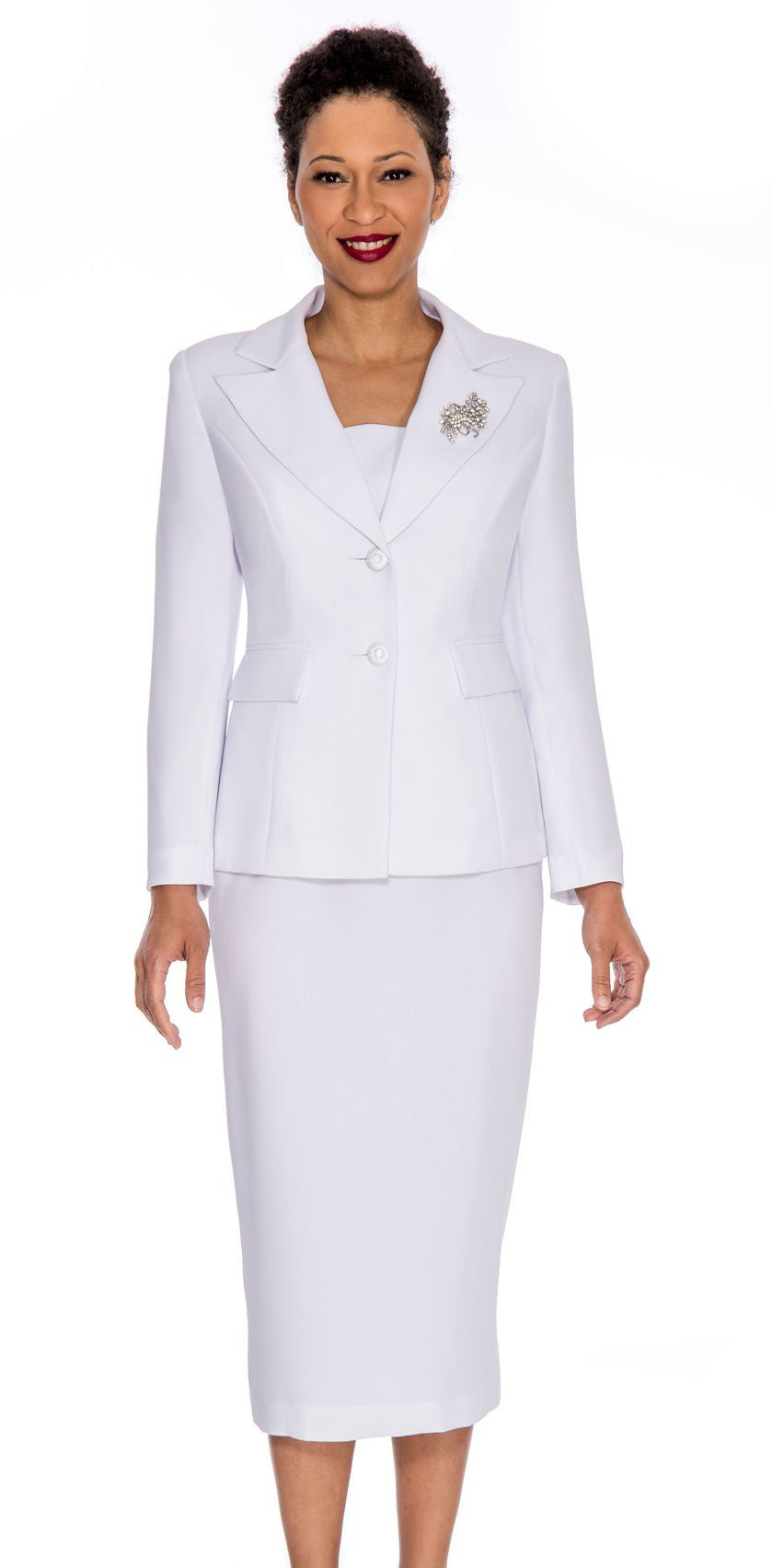 Giovanna Church Suit 0710-White - Church Suits For Less