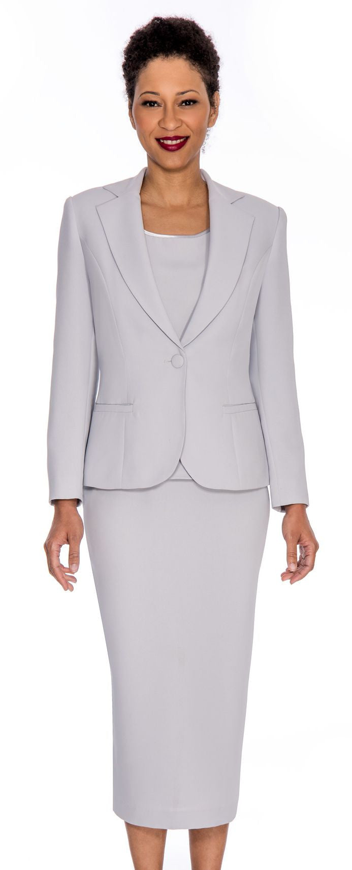 Giovanna Church Suit 0823-Silver - Church Suits For Less