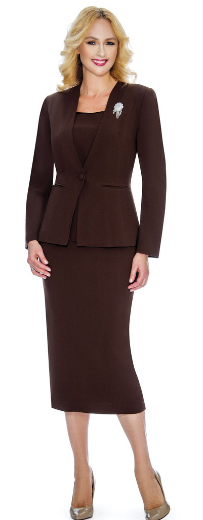 Giovanna Usher Suit 0825-Chocolate - Church Suits For Less