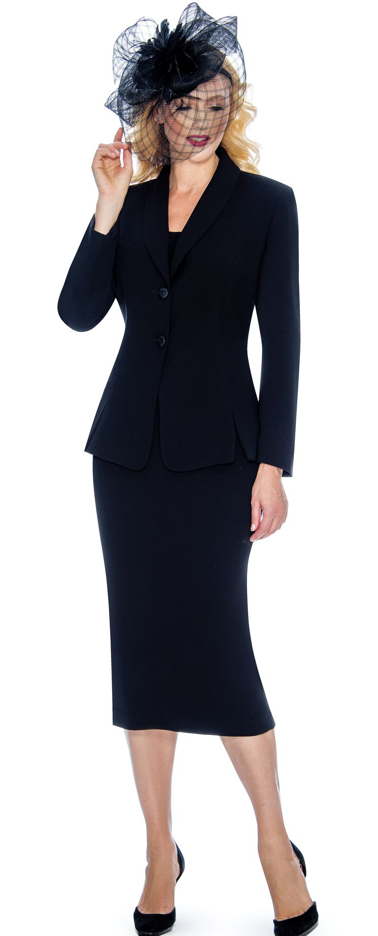 Giovanna Usher Suit 0826C-Black - Church Suits For Less