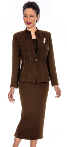 Giovanna Usher Suit 0867-Chocolate - Church Suits For Less
