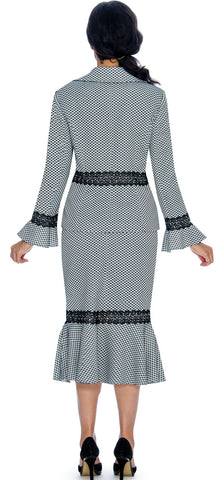 Giovanna Skirt Suit 0910-Black/White - Church Suits For Less