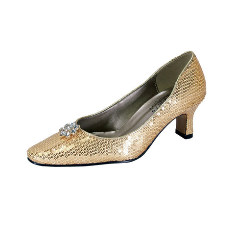 Women Church Shoes DP726C-Gold - Church Suits For Less