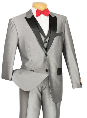 Vinci Men Suit 23TX-1-Gray - Church Suits For Less