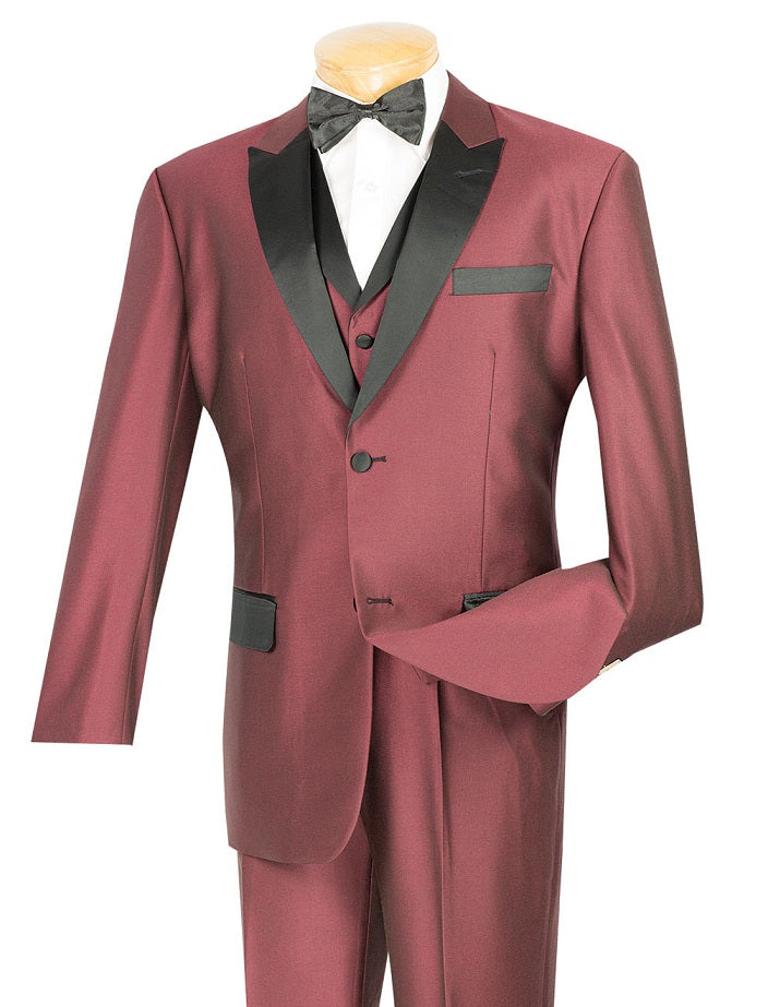 Vinci Men Suit 23TX-1-Burgundy - Church Suits For Less