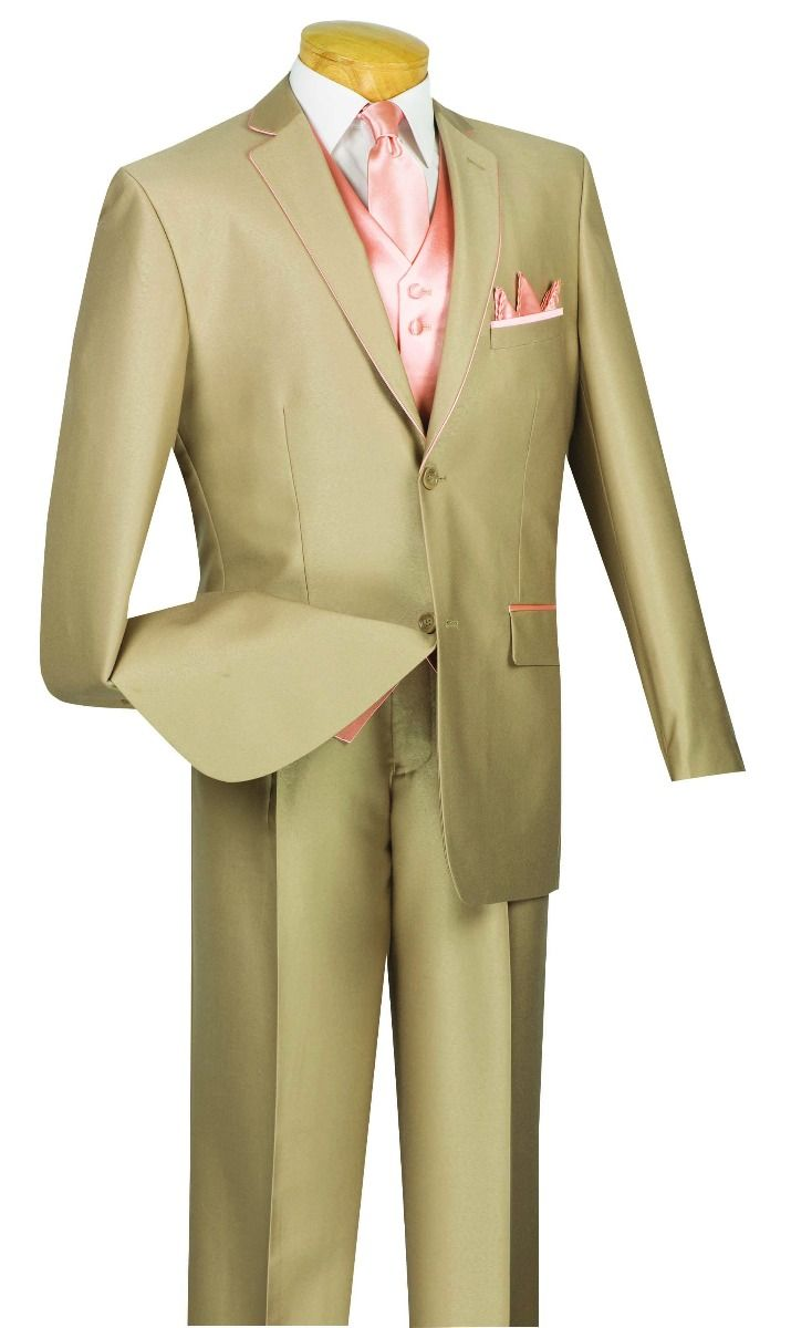Vinci Men Suit 23SS-4-Tan/Peach - Church Suits For Less