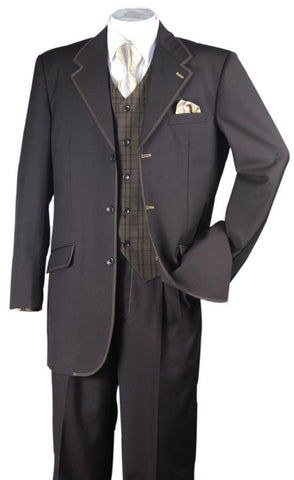 Milano Moda Men Suit 2916V-Brown - Church Suits For Less