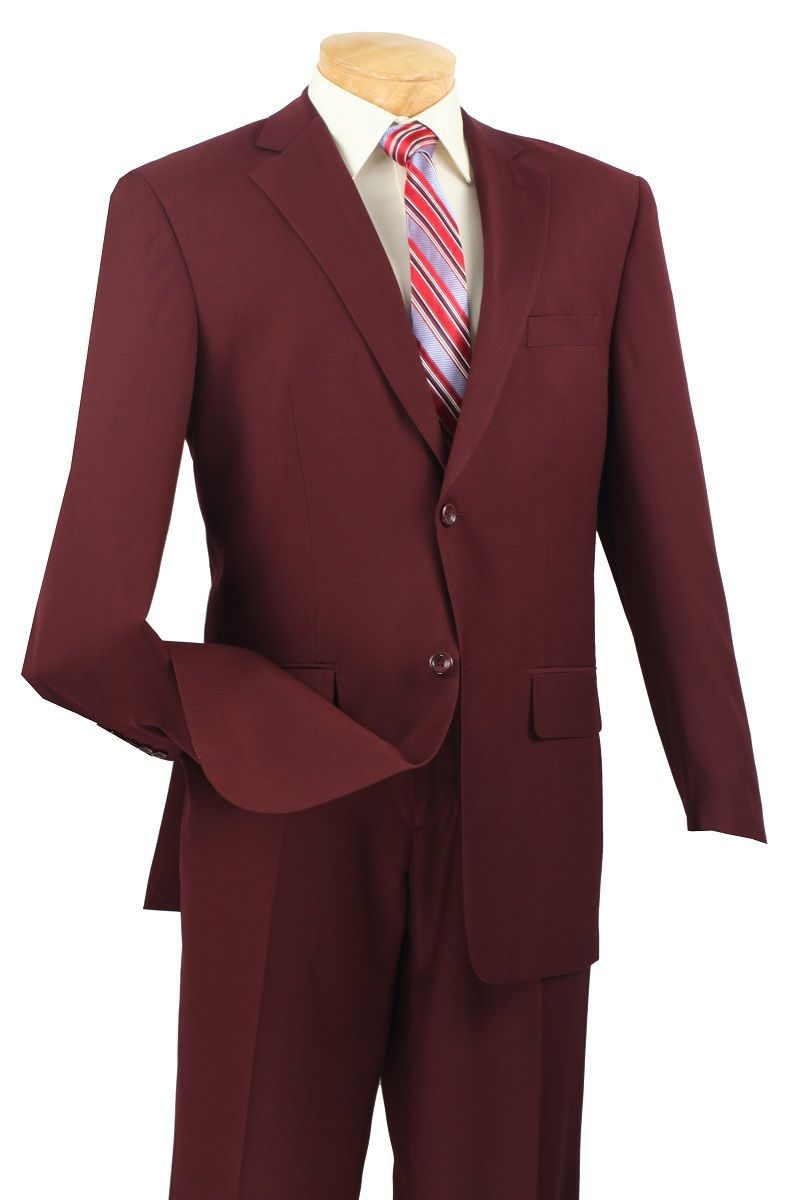Vinci Men Suit 2LK-1-Burgundy - Church Suits For Less