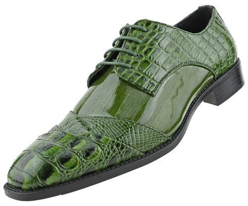 Men Dress Shoes-Alligator-Olive - Church Suits For Less