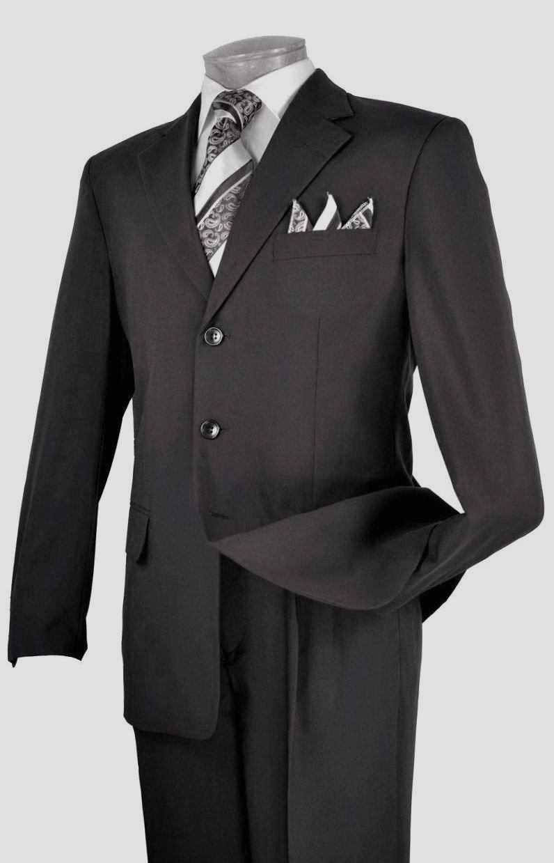 Vinci Men Suit 3PP-Black - Church Suits For Less