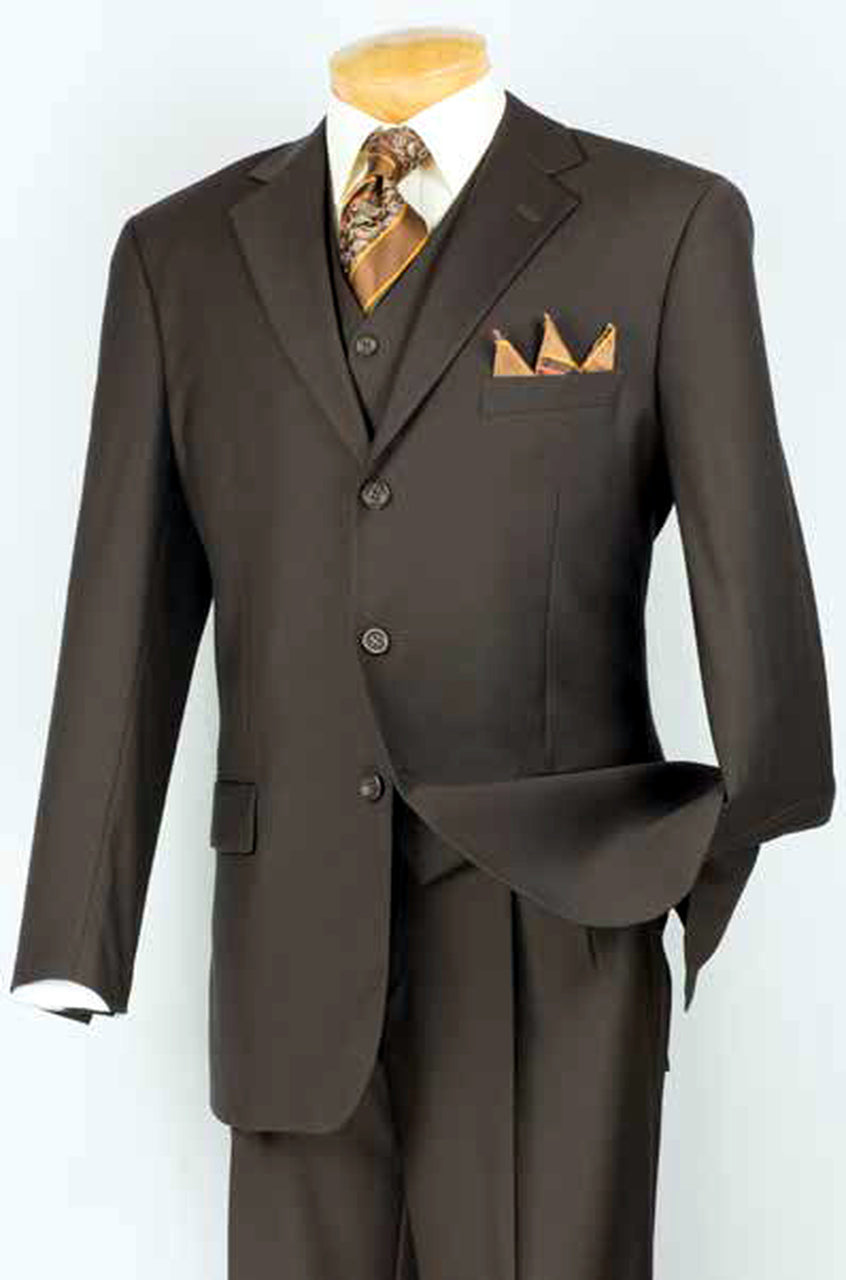 Vinci Men Suit 3TR-3-Brown - Church Suits For Less