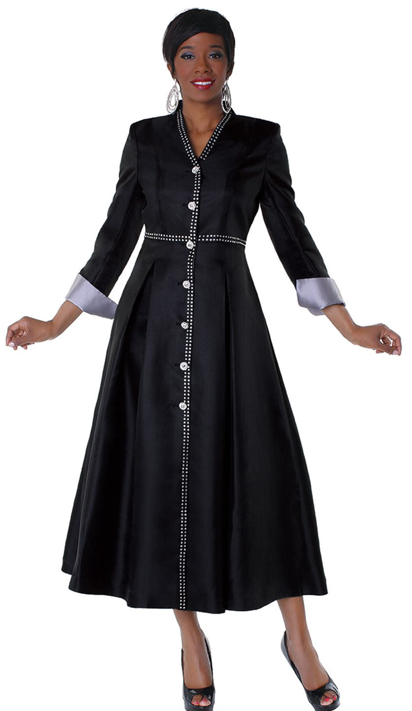 Tally Taylor Robe 4530-Black/Silver - Church Suits For Less