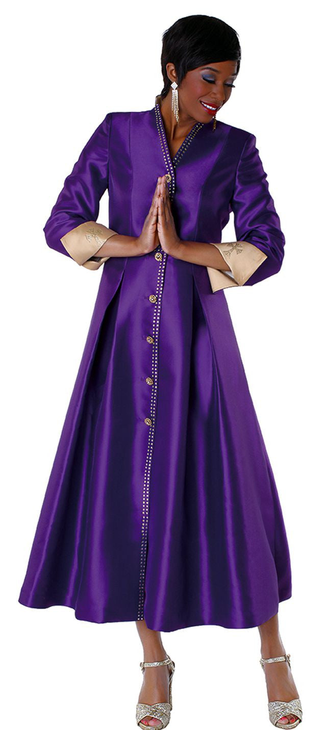 Tally Taylor Robe 4530-Purple/Gold - Church Suits For Less