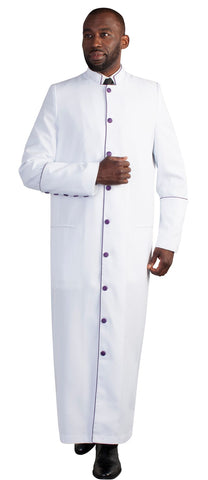 Tally Taylor Men Robe 4591-White/Purple - Church Suits For Less