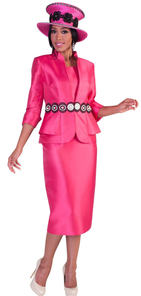 Tally Taylor Suit 4617-Fuchsia/Black - Church Suits For Less