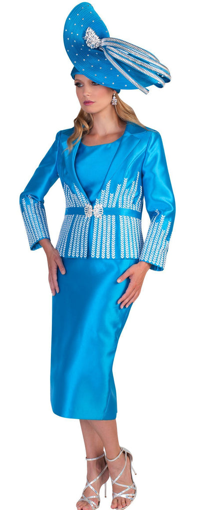 Tally Taylor Suit 4619-Aqua - Church Suits For Less