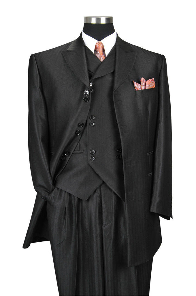 Milano Moda Men Suit 5264V-Black - Church Suits For Less