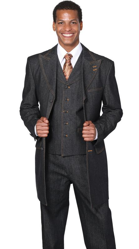 Milano Moda Men Suit 5285V-Black - Church Suits For Less