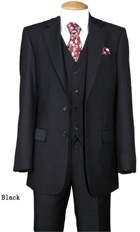 Fortino Landi Men Suit 5702V3-Black - Church Suits For Less