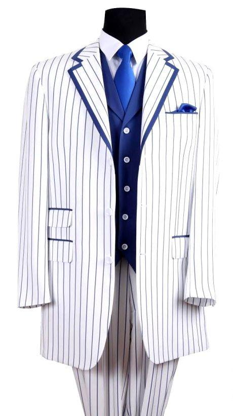 Milano Moda Suit 5908VC-White/Navy Blue - Church Suits For Less