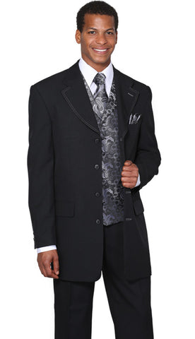 Milano Moda Suit 6903V-Black/Grey - Church Suits For Less