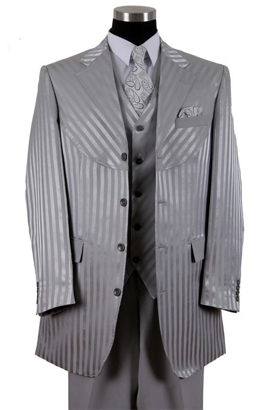 Milano Moda Men Suit 2915V-Silver - Church Suits For Less