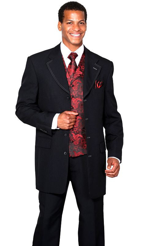 Milano Moda Suit 6903V-Black/Red - Church Suits For Less