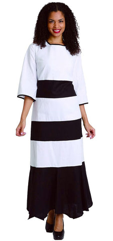 Diana Linen Dress 8212-White/Black