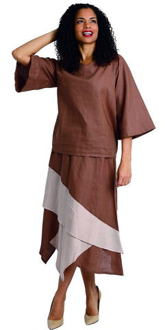 Diana Linen Skirt Set 8214-Brown/Khaki