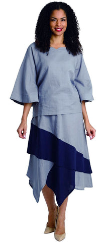 Diana Linen Skirt Set 8214-Gray/Navy