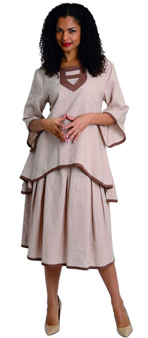 Diana Linen Skirt Set 8215-Khaki/Brown